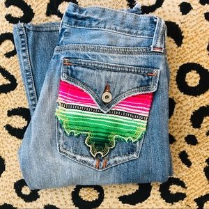 Miss Me Jeans with bright colored pocket. SZ 26